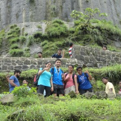 The group at the steps of the Fort