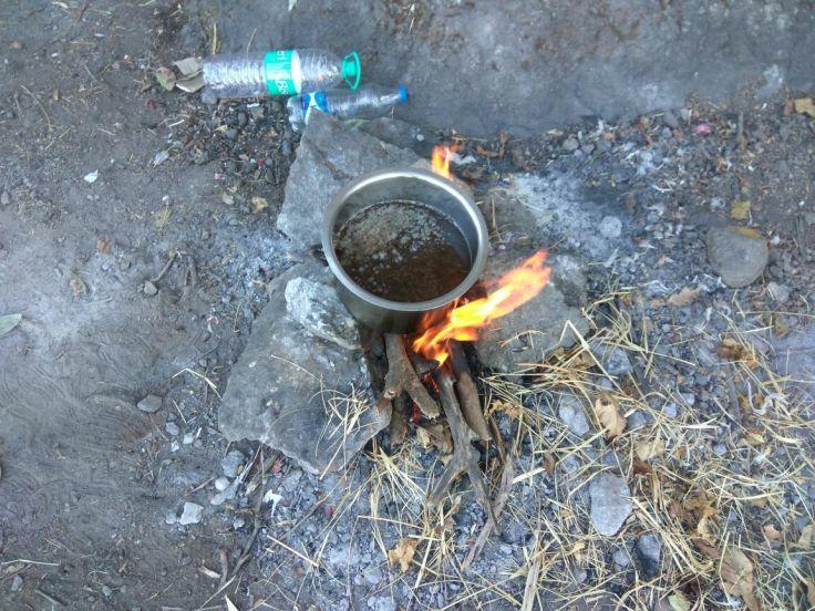 Tea being made on the Chulha